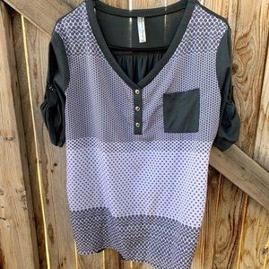 Perceptions Concept blouse mid sleeve half button